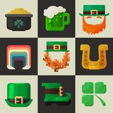 Set of shiny flat Irish St. Patricks Day icons Stock Photography