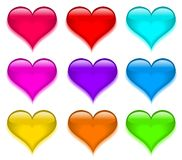 Set shiny glass buttons in view heart. Vector Royalty Free Stock Photography