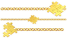 Set of shiny gold chains with puzzles Royalty Free Stock Image