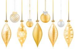 Set of shiny golden christmas balls on white background Royalty Free Stock Photo