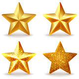 Set of shiny golden stars Royalty Free Stock Photos