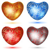 Set of shiny hearts with curls Royalty Free Stock Photos