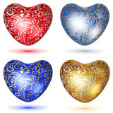 Set of shiny hearts with curls Stock Images