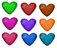Set of Shiny Hearts in Nine Colors Royalty Free Stock Images