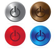 Set of shiny metal power buttons Royalty Free Stock Photo