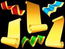 Set shiny ribbons and paper scrolls Stock Photos