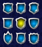 Set of shiny shields Royalty Free Stock Images