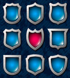 Set of shiny shields Stock Image