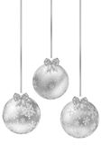 Set of shiny silver christmas balls on white background Stock Photos