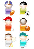 Glossy Sports Character Icons Royalty Free Stock Images