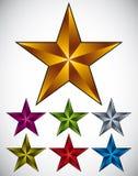 Set of shiny star icons. Stock Photos