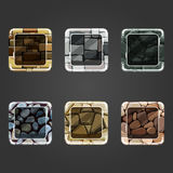 Set of shiny stone square button Royalty Free Stock Photo