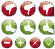 Set of shiny thumbs up buttons stock illustration