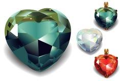 Set of Shiny Valentines Diamond Hearts. Royalty Free Stock Photo