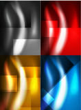 Set of shiny vector silk wave abstract backgrounds Stock Photos