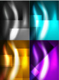 Set of shiny vector silk wave abstract backgrounds Stock Image