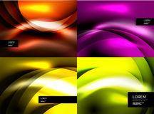 Set of shiny vector silk wave abstract backgrounds Royalty Free Stock Image