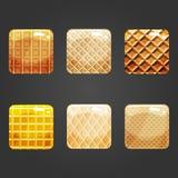 Set of shiny waffle square button Stock Image