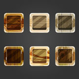 Set of shiny wooden concave square button Stock Photo