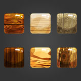 Set of shiny wooden square button Stock Images