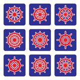 Set of ship wheel vector icons on blue background Royalty Free Stock Image