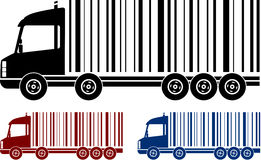 Set of shipping trucks with bar code Royalty Free Stock Images
