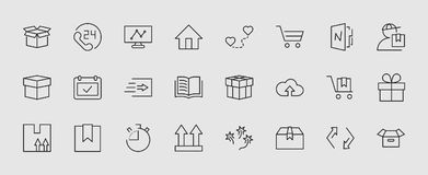 Set of shipping vector line icon. It contains symbols to box, home and more. Editable move. 32x32 pixels. stock illustration