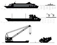 Set. Ships. Black. Stock Photography