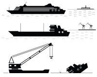 Set. Ships. Black. Silhouettes of ships at the sea. Vector illustration royalty free illustration