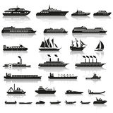 Set of ships and boats Stock Images