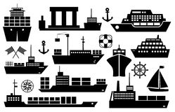 Set of ships and boats icons. Set of black and white silhouette ships and boats icons showing passenger lines  cruise ship  sailboat  yacht  container ship Royalty Free Stock Photos