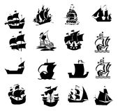 Set of ships and boats icons. Llustrated set of black vintage and historical sailing ships and boats, white studio background Stock Photography