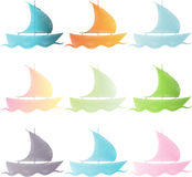 Set ships in color. Vector illustration Stock Photos