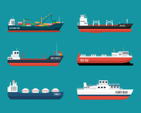 Set of ships in modern flat style. Royalty Free Stock Photos