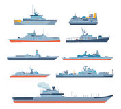 Set of ships in modern flat style: ships, boats, ferries. Royalty Free Stock Photos