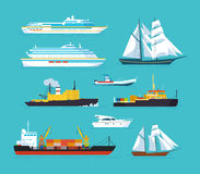 Set of ships in modern flat style: ships, boats, ferries. Set of ships in modern flat style: ships, boats, ferries, with blue sea background. Ocean transport Royalty Free Stock Photo