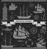 Set of ships with nautical design elements. Royalty Free Stock Images