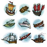 Set of ships. Set of river and sea transport Stock Photo