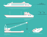 Set. Ships. Silhouettes of ships at the sea. Vector illustration. EPS10. Opacity royalty free illustration