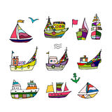Set of ships, sketch for your design Royalty Free Stock Photos