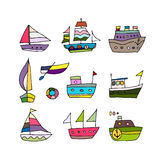 Set of ships, sketch for your design Royalty Free Stock Photography