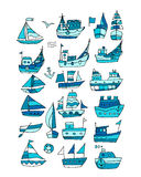 Set of ships, sketch for your design Royalty Free Stock Photo