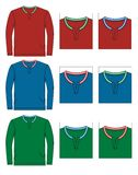 Set shirt men. Red, blue, green, vector image Royalty Free Stock Photography