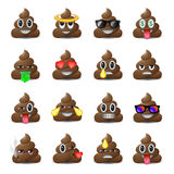 Set of shit icons, smiling faces, emoji, emoticons Royalty Free Stock Images