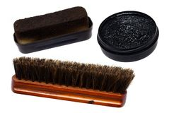 Set for a shoe-polish. It is isolated on a white background Stock Photo