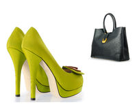 The set of shoes and bags isolated on white Royalty Free Stock Photography