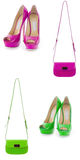 Set of shoes and bags isolated on white Stock Photos