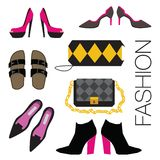 Set of shoes and bags. Royalty Free Stock Photo