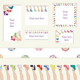 Set of shoes design templates. Set of colorful shoes frames, banners and pattern Stock Image