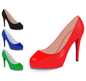 Set of shoes of different colours Royalty Free Stock Images